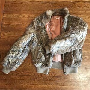 Vintage Rabbit Fur Bomber Jacket Women's M